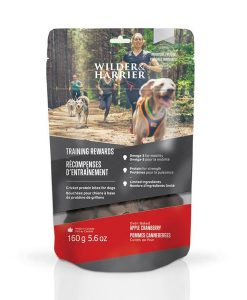 Dog treats made from cricket protein, apple cranberry flavor.
