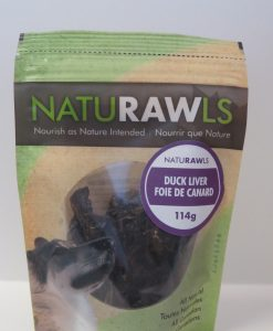 Naturawls dehydrated duck liver treats made in Canada