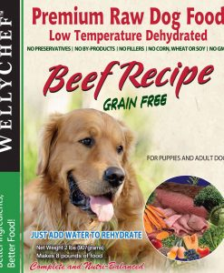 Dehydrated raw beef dog food by Welly Chef