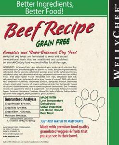 Dehydrated raw beef dog food