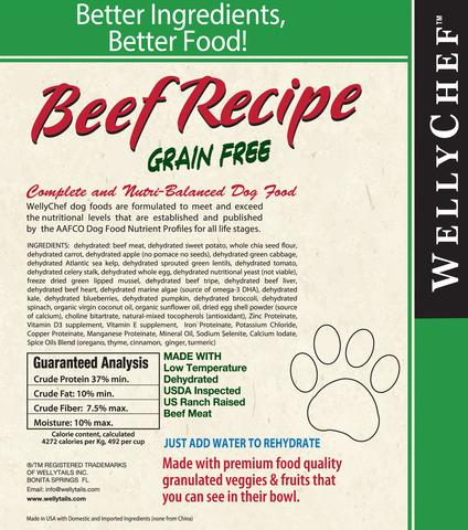 Dehydrated raw beef dog food