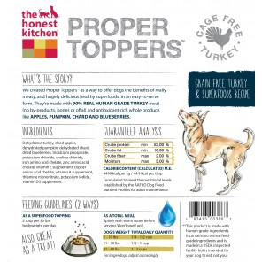 Dehydrated grain free Turkey dog food
