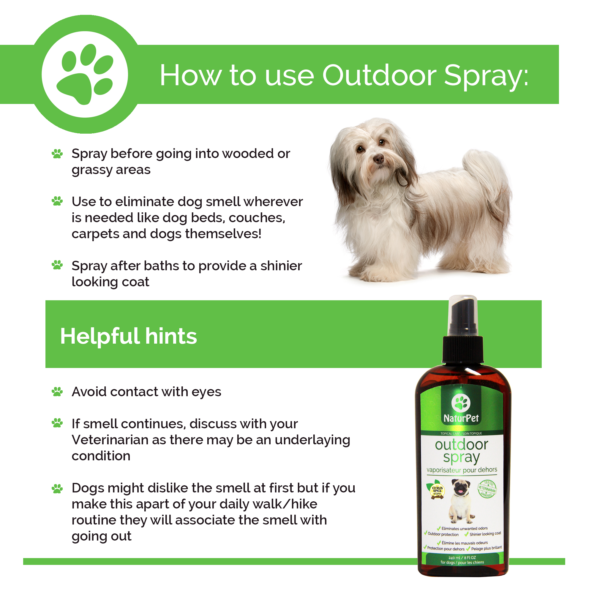 Naturpet Natural insect repellent for dogs. Vet approved. Made in Canada.