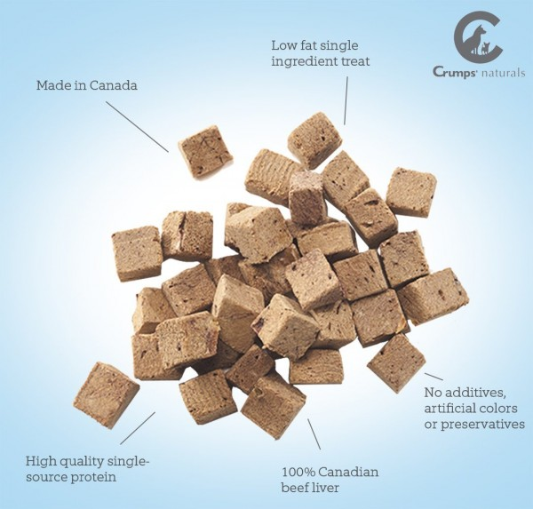 Canadian freeze dried Beef Liver dog treats by Crumps' Naturals